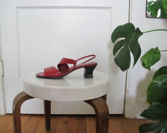 Sz 8 Red Leather Strappy Minimal Sandals