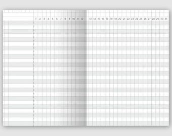 A6 Size Monthly Tracker Grid - Printable Traveler's Notebook Insert