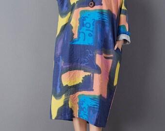 Long sleeve linen dress loose linen tunic dress spring autumn cotton dress linen maxi dress oversize dress plus size linen clothing