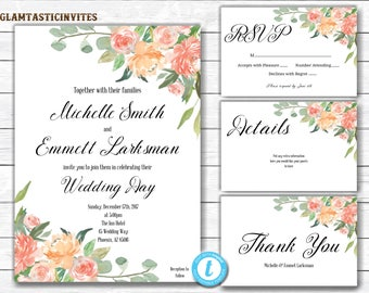 Wedding Invitation Template, Rustic Wedding Invitation Printable, Country Wedding Invitation, YOU EDIT, Printable, Wedding invitation suite,