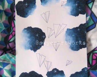 Original Space Paper Planes Watercolor Artwork