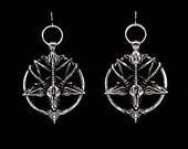 BAPHOMET, satanic earrings,  inverted pentagram, goat head, pentacle, witchy, occult, venom, death metal, black metal, unholy, satanic witch