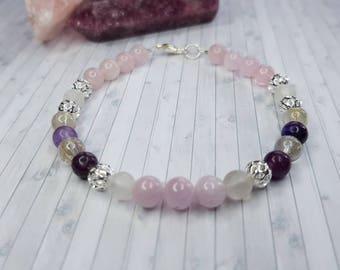 ANXIETY HEALING BRACELET (2)   Kunzite,Lepidolite,Rose Quartz,Rutilated Quartz   calming, stress release   pastel,pink   crystal,gemstone
