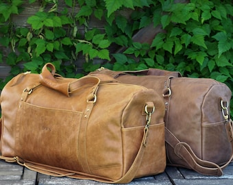 caramel brown leather leather mens womens duffel - Mens Leather Duffle Bag