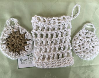 All Natural 100% Hemp Face Scrubbers  and Soap saver Pouches Artisan Handmade Crocheted