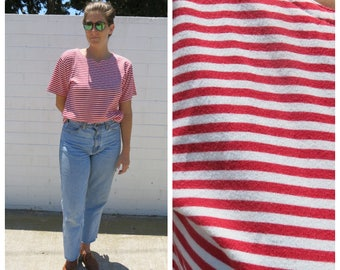 Nautical Red & White Striped T-Shirt with Notched Neck Collar