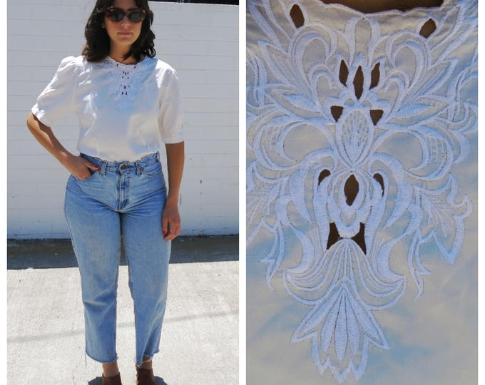 White Silk Short Sleeve Blouse With Embroidered Neckline Victorian Style Top 1980s 80s 90s