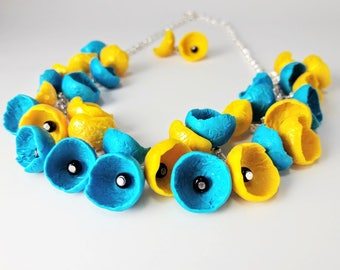 Polymer Clay Necklace. Flower Necklace Set. Summer Necklace. Handmade Jewelry. Blue and Yellow Necklace. Clay Flowers. Necklace and Earrings