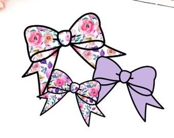 Floral Bright Bow Die Cuts - Set Of Three, Ephemera, Card stock pieces, Scrapbooking, Junk journal, Planner, Erin Condren, Happy Planner, TN