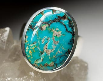 Turquoise Silver Ring 1655 | Natural Organic Turquoise Gemstone Sterling Silver Fine Jewelry