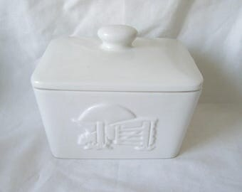 Pottery Butter Dish Embossed Classic White Butter Dish