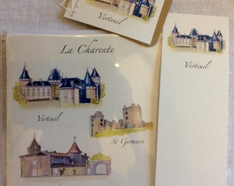 Charente lot of: 1 card hand watercolored, 1 bookmark and Verteuil label