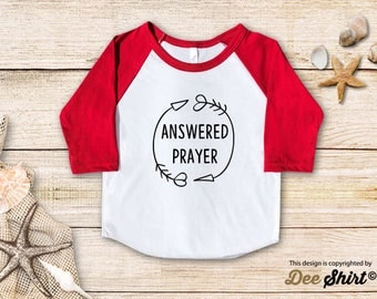 Answered Prayer; Christian Shirt; Cute Baptism Tee; Love Jesus T-Shirt; Sunday School Kids Church Outfit, Cool Christmas Holiday Gift Idea