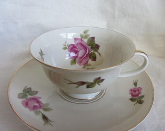 Vintage 1950's Rosenthal German duo, tea cup and saucer, mid century fine bone china. Pink roses Tea party. Birthday gift. Wide low tea cup