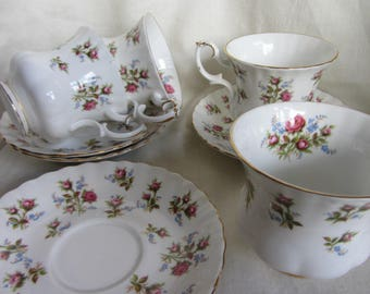 Set of 4 vintage Royal Albert Winsome duos. English bone china floral tea cup and saucer. Pink roses Tea party, birthday/wedding  gift
