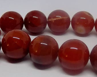 Red 18mm Round Natural Agate Gemstone Beads (22 pieces)