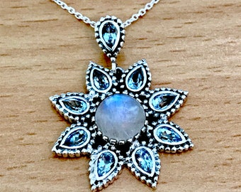 Rainbow Moonstone & Blue Topaz Flower/Star Shape 925 Sterling Silver Pendant and Chain
