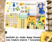 Sunflowers summer sampler stickers - for Erin Condren Vertical and Horizontal Planners - floral glitter beach wood party