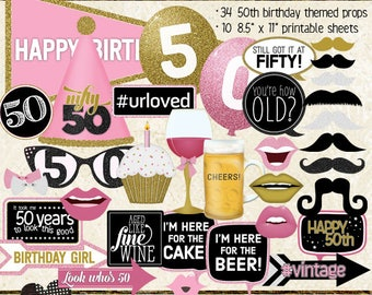Photo Booth Props, HAPPY 50TH BIRTHDAY, girl, pink, gold, printable sheets, instant download, selfie station