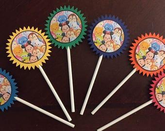 Tsum Tsum Cupcake Toppers (6), Tsum Tsum Birthday, Tsum Tsum Party, Baby Shower, Minnie