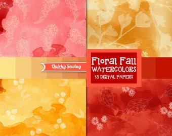 Watercolor Digital Paper, Floral Watercolor Digital Paper, Autumn Watercolor Background, Fall Watercolor Texture, Watercolor Scrapbook Paper