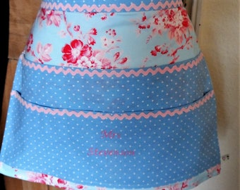 Retro vintage style half apron 6 pockets custom/ personalised with name baking/teacher/Mother's Day/birthday gift