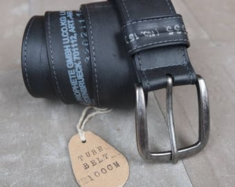 Upcycling belt from bicycle hose/black with print/100 cm