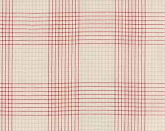 Moda MISS SCARLET Quilt Fabric 1/2 Yard By Minick & Simpson - Stone/Warm Red 14818 12
