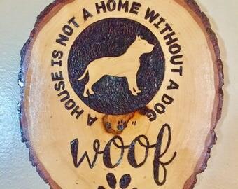 Pitbull Dog lover Custom woodburned sign