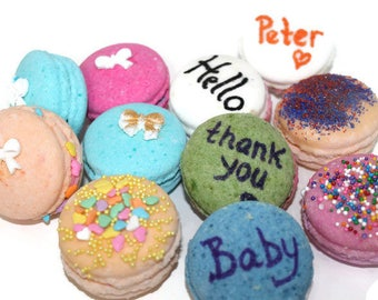 baby shower favors, baby shower, mini bath bombs, party favors, personalized, baby shower ideas, macarons, french macarons,