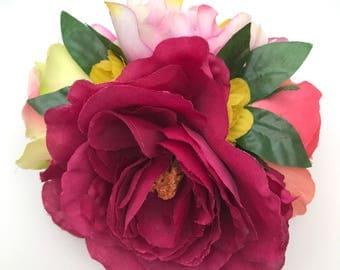 Handmade Peony & Rose Statement Hair Flower Clip