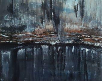 "Abstract ""The Dark"" Oryginal Art Acrylic on canvas 60x50 cm"