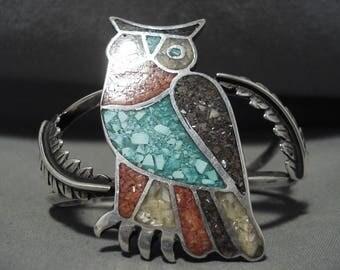 Huge Vintage Navajo Silver Turquoise Coral Owl Silver Bracelet