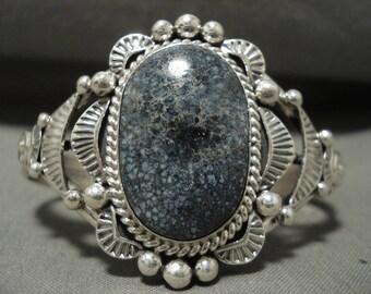 Ultra Rare Navajo New Laqnder Blue Turquoise Silver Bracelet