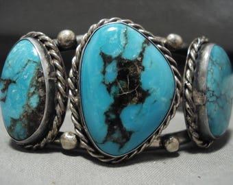 Intense Blue Heavy Vintage Navajo Silver Bracelet Old Jewelry
