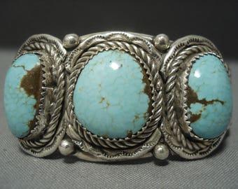 Mint Green Turquoise Vintage Navajo Sterling Silver Native American Bracelet