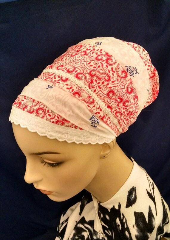 Summery Eyelet cotton sinar tichel, tichels, head scarves, chemo scarves, head wraps, hair snood, mitpachat