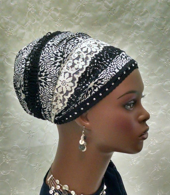 Diamonique modern floral tichel, tichels, headdress designs, chemo scarves, head wraps, mitpachat