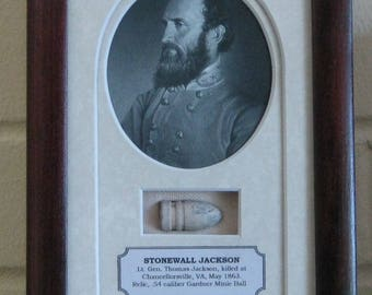 General Stonewall Jackson, portrait with removable Confederate Musket Ball Relic