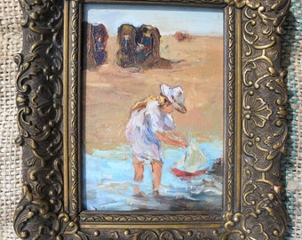Oil Painting of a Young Girl Playing on the Beach