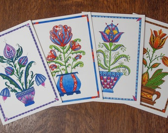 Greeting card set, folk art card assortment, 4 for price of 3, handmade flower card, lower greeting card,floral note card botanical greeting