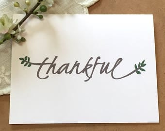 Thankful Card - Thanksgiving Card - Thank You Card - Fall Thank You - Thank you Card Set - Thanksgiving place card - Table Decor - Leaves