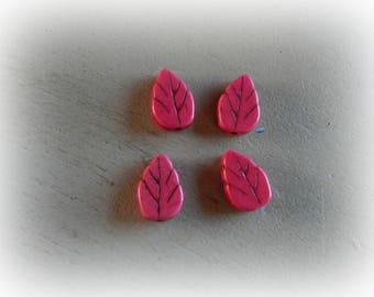 13 * 9 mm pink howlite leaf 4 beads