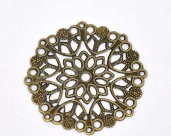 10 prints filigree round connector 35 mm color bronze