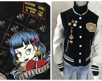 "POP-College jacket ""BettyCool"" Rockabella 50th style size S M XXL patch lucky 7 leatherette felt"