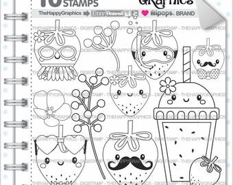 80%OFF - Strawberry Stamp, COMMERCIAL USE, Digi Stamp, Digital Image, Strawberry Digistamp, Strawberry Coloring Page, Strawberry Graphic