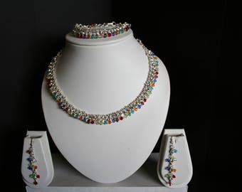 Multicolor Necklace, Bracelet, and Earring Set