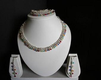 Multicolor Necklace, Bracelet, and Earring Set