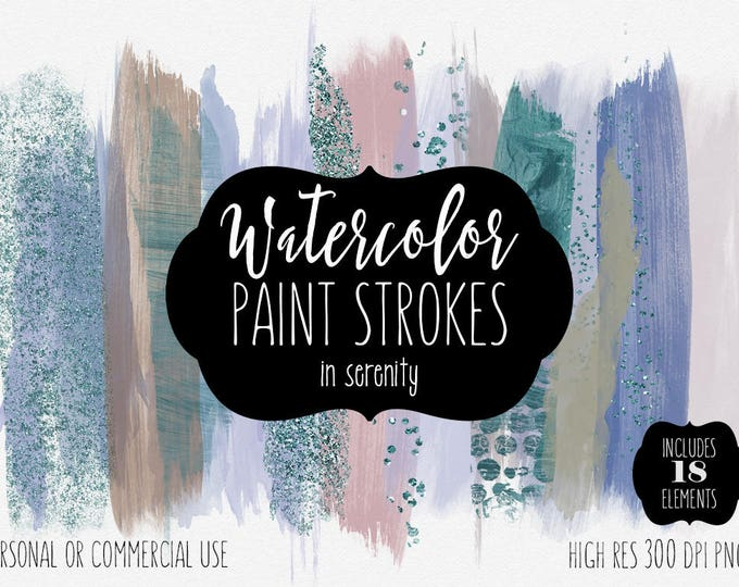 TEAL BRUSH STROKE Clip Art Commercial Use Clipart Watercolor Paint Rectangles Blog Header Confetti Watercolour Textures Logo Graphics