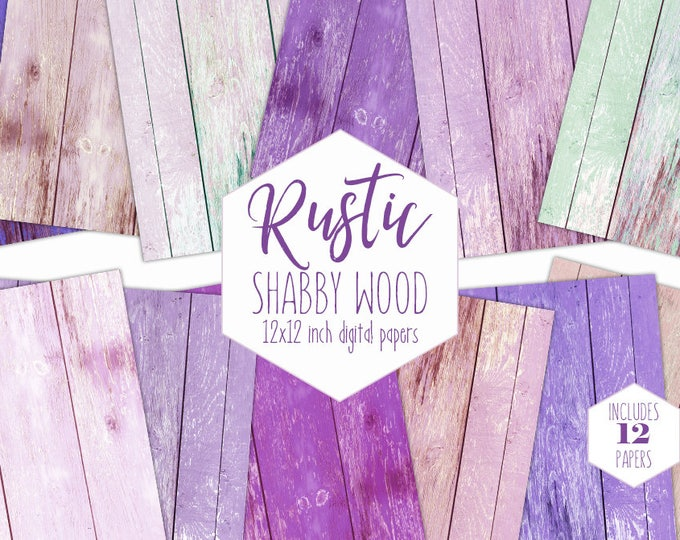 BLUSH PINK WOOD Digital Paper Pack Purple Painted Wood Backgrounds Shabby Chic Scrapbook Paper Wood Grain Textures Party Printable Clipart
